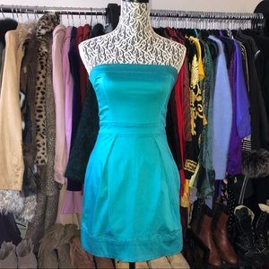 French Connection turquoise strapless dress